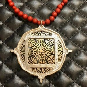 Buckle Tribal Bead Medallion Mala Style Necklace